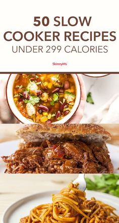 Slow Cooker Recipes Under 299 Calories These are the kind of low-calorie slow cooker meals that make mealtime quick, easy, and guilt-free.These are the kind of low-calorie slow cooker meals that make mealtime quick, easy, and guilt-free. Crock Pot Recipes, Low Calorie Recipes Crockpot, Ground Beef Recipes Easy, Lunch Recipes, Dinner Recipes, Potato Recipes, Vegetarian Recipes, Vegetable Recipes, Diabetic Slow Cooker Recipes