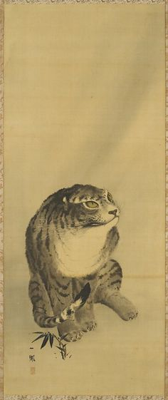 Tiger, from a Tiger and Dragon pair, 1868. Japanese hanging scroll.  Mori Ippo. Ink on silk. Minneapolis Institute of Arts