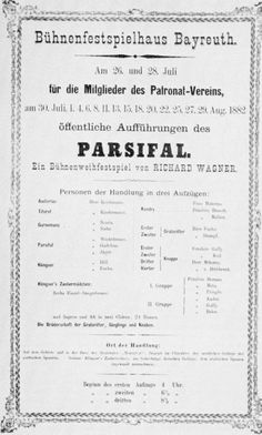 Poster for the original production of Parsifal in Bayreuth, Germany, July 26-27, 1882