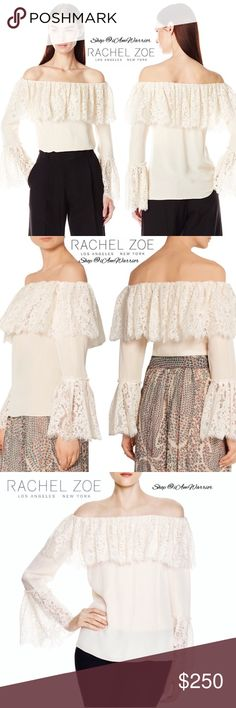 Rachel Zoe lace off shoulder bell sleeve blouse Stunning NWT Rachel Zoe silk ivory off the shoulder blouse with lace bell sleeves is the statement piece that can go from date night with denim or for a special occasion or holiday with trousers or a skirt. Beautiful silk fabric is lightweight/semi sheer. See photos for measurements. Retails at $395 and is exquisite! Please read my bio regarding closet policies prior to any inquiries. Rachel Zoe Tops Blouses