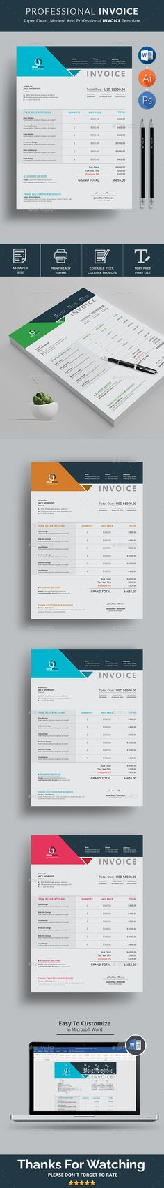Create An Invoice In Excel Stunning Invoice Template Vol 02 — Photoshop Psd #corporate Invoice #print .