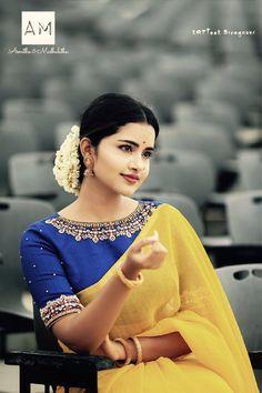 South Indian actress Anupama Parameswaran in saree photo gallery. Anupama Parameswaran in saree picture, image, wallpaper. Saree Blouse Neck Designs, Bridal Blouse Designs, Sari Blouse, Blouse Patterns, Hand Work Blouse Design, Yellow Saree, Actors, At Least, Celebs