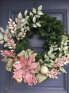 Front Door Wreath, Christmas Wreath, Christmas Wreath with Rose Pink Poinsettia - Trend Holidays Recipes 2019 Poinsettia Wreath, Pink Wreath, Xmas Wreaths, Door Wreaths, Winter Wreaths, Christmas Rose, Victorian Christmas, Christmas Crafts, Christmas Mantles