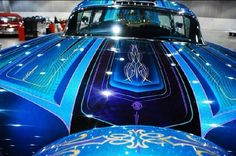 hot rod, muscle cars, rat rods and girls : Photo Car Paint Jobs, Custom Paint Jobs, Custom Cars, Air Brush Painting, Car Painting, Motorcycle Paint Jobs, Bagger Motorcycle, 1958 Chevy Impala, Garage
