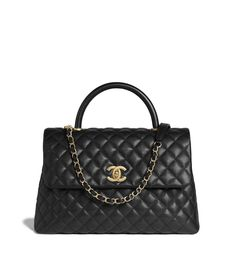 6858dcabed Grained Calfskin & Gold-Tone Metal Black Large Flap Bag with Top Handle.  Nero ChanelBorse ...