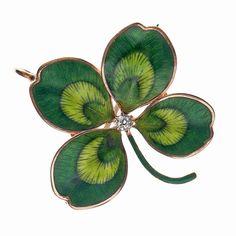 Fine enamel & diamond Four-Leaf Clover Art Noveau pendant-brooch
