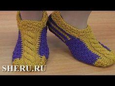 Яркие носочки-следки на двух спицах. - YouTube