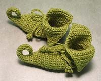 crocheted booties.