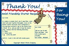Amish Starter Freinship Bread Recipe in a Thank You Postcard