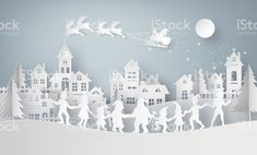 Illustration of merry christmas and happy new year,Claus on the sky coming to City with family dance around .Design and produce by vector of paper art and digital craft style Christmas Vinyl, Merry Christmas And Happy New Year, Christmas Images, Christmas Fun, Origami Xmas, Christmas Facebook Cover, New Year Illustration, Happy New Year Vector, Cut Out Art