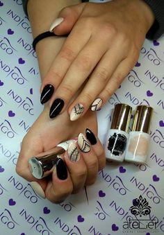 by Klaudia Wyrwas :) Find more inspiration at www.indigo-nails.com #nailart #nails #indigo #black #lace #nude #ivory