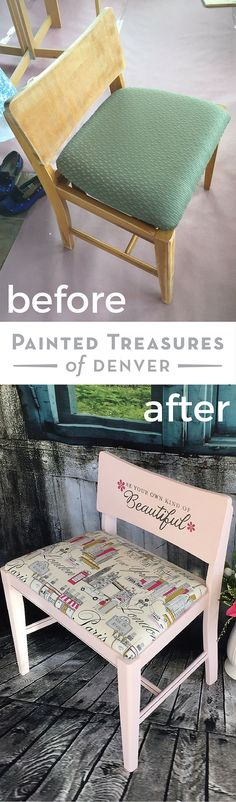"""This drab chair makeover involved new upholstery, Heirloom Traditions chalktype paint in Azalea and a cute """"Pretend this is Paris"""" and """"Be your own kind of Beautiful"""" stencils on the front and back. Now it makes the perfect vanity stool. Chair Before & After. Get these products with 10% off using the code PAINTEDTREASURES"""