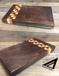 Stunning character in this walnut cutting board. Accented w/ walnut, cherry, & maple checkered stripes. Come see more at 1979woodwork.com