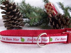 Christmas Holiday Dog Collar I've Been Nice In XS S  by dogdazzle, $17.00