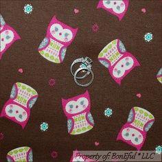 BonEful FABRIC FQ Cotton Jersey Knit Brown Pink OWL Bird Girl Heart Flower Retro
