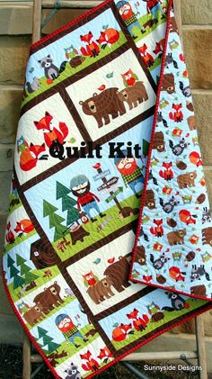 Lumberjack Quilt Kit, FLANNEL, Baby Boy, Panel, Quick Easy, Woodland Forest, Bears Fox, Outdoor Trees Rustic, Brown Green DIY Do it Yourself