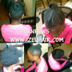 Cornrows with natural hair. www.izeyhair.com