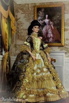 """https://flic.kr/p/nnCFmK   Fashion Royalty FR16  OOAK Outfit """"Madame de Pompadour"""" by Natalia   Have finally finished this Big Project!  I have made the dress similar to Madame de Pompadour's  dress from Boucher Francois's picture. The dress fits FR16 and Tonner Tyler and Antoinette (pictures will be on Flickr soon)  All composition (the dress, loveseat and diorama)   will be available on Ebay   soon."""