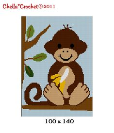 Baby Monkey in Jungle Tree with Banana Safari Afghan Crochet Pattern Graph 100st on Etsy, $3.80