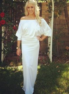 MEMORIAL DAY SALE $40 BERRY WHITE LONG**SLOUCHY OFF SHOULDER LONG LENGTH DRESS,  Dress, bridal dresses  sexy white dress  long, Chic