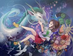 "SuperBe FanArt • HaKu ""le Dragon"" et Chihiro ~ Le Voyage de Chihiro ~ [Studio Ghibli]"