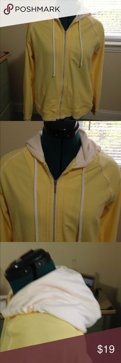 Lemon Velour Hoodie Size XL Lady Foot Locker Soft lemon yellow colored hoodie with full zip. Worn once. White lined hood. By Lady Foot  Locker. Lady Foot Locker Tops Sweatshirts & Hoodies