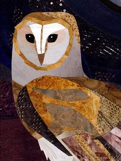 The Barn Owl ~ artist Jonathan Woodward. Beautiful works in traditional cut & paste paper collage #art #illustration #collage