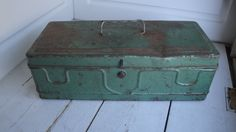 Vintage Metal Tool Box Green Industrial Rusty by CraftySara on Etsy