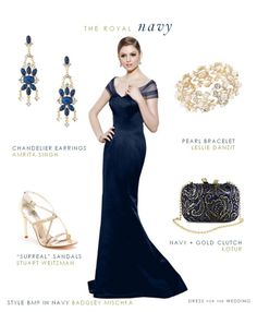Navy Blue Gown Navy blue gown for the Mother of the Bride or Mother of the Groom. A floor-length navy dress for an elegant wedding for bridesmaids or mothers. Marine Uniform, Navy Evening Dresses, Evening Gowns, Mob Dresses, Fashion Dresses, Bride Dresses, Fashion Pics, Formal Dresses, Bridesmaids