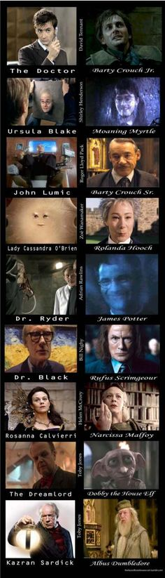 Proving that Britain recycles all their best actors. They obviously need to update this to include series 7, because Argus Filch/Solomon (David Bradley) and Arthur Weasley/Brian Williams (Mark Williams) are missing from Dinosaurs on a Spaceship. :D