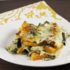 This meat free lasagna doesn't lack in flavor but it does lack in calories and fat grams.