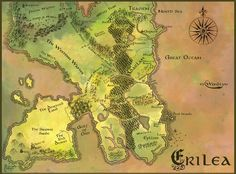 As if the map of Erilea (Throne of Glass by Sarah J. Maas) wasn't awesome enough, theres a freaking coloured version too XD (although it has all the old names :-/)
