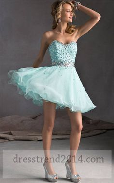 Cheap Mint Beaded Short Prom Dresses 2014