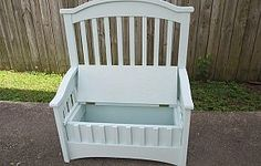 Great reuse of an old crib!  Added hinges and a safety hinge (not shown) I painted it a very light blue/green. Note: I drilled holes in the bottom for ventilation in case a child closes the lid while in the box.