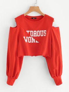 Sweatshirts by BORNTOWEAR. Open Shoulder Raw Edge Cut And Sew Crop Pullover