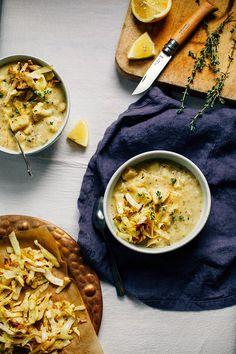 winter vegetable chowder with mustard, lemon + crispy cabbage