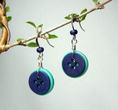 Slate Blue and Mint Green Button Earrings Upcycled by MadeByEMarie, $10.00