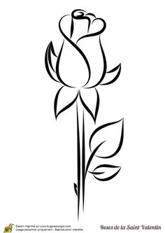 Coloriage rose saint valentin bouton - Coloriage rose saint valentin bouton Best Picture For diy projects For You - Rose Saint Valentin, Valentines Day Coloring Page, Wood Burning Patterns, Drawing Sketches, Drawing Art, Drawing Tips, Easy Drawings, Rock Art, Doodle Art
