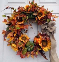 Fall Wreath  Autumn Wreath  Thanksgivng Wreath   by forevermore1, $95.00