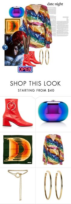 """""""Date Night With Di Is Open For All The Rainbows"""" by the-house-of-kasin ❤ liked on Polyvore featuring Jeffrey Levinson, Attico, Maje, Kenneth Jay Lane, rainbow, metallic, Sequins and metallics"""