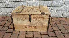 Grande cassetta baule in legno antico birra poretti varese anni 30 raro