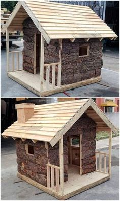 Original DIY Ideas for Wooden Pallets Recycling Another brilliant design for the kids playing cabin is shown here that seems like a hut plan. The extraordinary designing for the cabin will definitely attract your kids towards this elegant pallet plan. Wooden Pallet Projects, Pallet Crafts, Pallet Ideas, Wood Ideas, Pallet Designs, Pallet House, Pallet Shed, Pallet Porch, Outdoor Pallet