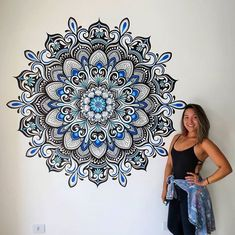 You are in the right place about Mandala Drawing dotwork Here we offer you the most beautiful pictur Mandala Art Lesson, Mandala Artwork, Mandala Drawing, Mandala Painting, Dot Painting, Room Wall Painting, Mural Wall Art, Mandela Art, Wall Drawing