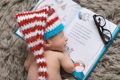 Tampa Newborn Photographer, Tiffany Walensky Photography, baby boy sleeping pose portrait session dr Seuss book bookworm reading