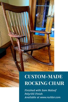 Rockler customer Donnie L. made this beautiful rocking chair and finished it with Sam Maloof Poly/Oil Finish, available at www.rockler.com. #poly #oil #finish #woodworking #woodworkingprojects Cool Woodworking Projects, Diy Woodworking, Diy Projects, Sam Maloof, Wood Stain, Rocking Chair, Crafts To Sell, Gifts For Dad, Wood Crafts