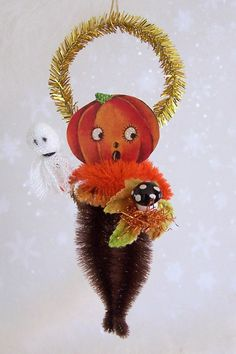 Halloween Feather Tree Ornament Vintage JOL by TreePets on Etsy