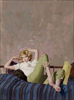 Robert McGinnis, (b. ~ The Bond Girls Robert Mcginnis, Pin Ups Vintage, Vintage Art, Vintage Comics, Art Pulp, Vladimir Volegov, Pulp Fiction Book, American Illustration, People Illustration