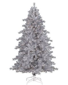 Treetopia Tinkerbell Silver Tinsel Artificial Christmas Tree 7 Feet Clear Lights * This is an Amazon Affiliate link. Want additional info? Click on the image.