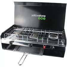 DELUXE CAMPING FOLDING DOUBLE BURNER STOVE PORTABLE COOKER WITH GRILL & LID Barbecue, Stove, Cooker, Kitchen Appliances, Diy Kitchen Appliances, Home Appliances, Barrel Smoker, Range, Bbq