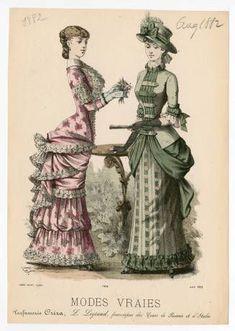 Women 1882, Plate 048 :: Costume Institute Fashion Plates Victorian Style Clothing, Victorian Era Fashion, 1880s Fashion, Victorian Steampunk, Vintage Fashion, Victorian Dresses, Fashion Forms, Fashion Prints, Fashion Illustration Vintage